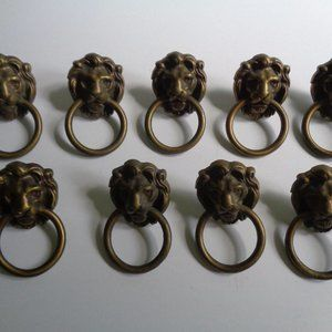 Antique Lions Head Brass Drawer Pull